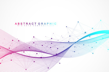 Geometric abstract background with connected lines and dots. Wave flow. Molecule and communication background. Graphic background for your design. Vector illustration. Wall mural