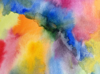 watercolor art abstract  background  bright  wash blurred textured  decoration  handmade beautiful colorful  stains dye fantasy rainbow shine sky clouds air day creative