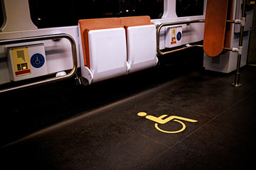 Wheelchair symbol in public transport