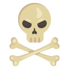 Vector Icon - Skull with Crossed Bones. Pirates Symbol.