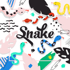 Cute Snakes Design. Childish Background with Abstract Elements. Baby Freehand Composition for Covers, Decor. Vector illustration