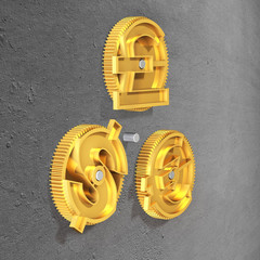 Gears with golden dollar sign, pound and euro symbol