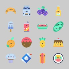 Icons about Food with milk, croissant, meatball, hot dog, mustard and mushroom