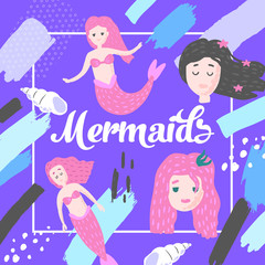 Mermaids Design in Childish Style. Kids Background with Cute Marine Girls and Abstract Elements for Covers, Decoration. Vector illustration