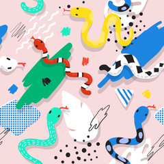 Cute Snakes Seamless Pattern. Childish Background with Abstract Elements. Baby Freehand Design for Fabric, Textile, Wallpaper, Wrapping. Vector illustration