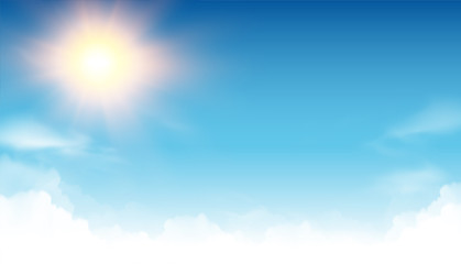 sunny background - blue sky clouds and sun