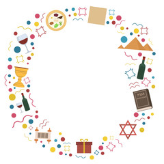 Frame with Passover holiday flat design icons