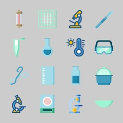 Icons about Laboratory with separator funnel, thermometer, beaker, watch glass, lab and gas jar