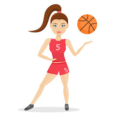 Female basketball player on white background