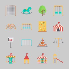 Icons about Amusement Park with carousel, horse swing, climb , slide, swings and amusement park