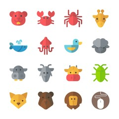 icon Animals with squid, mouse, crab, cow and fox