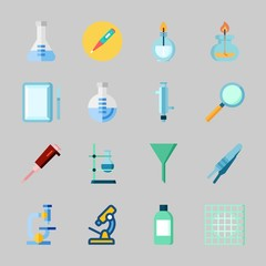 Icons about Laboratory with microscope, thermometer, lab, laboratory, surgery and jar