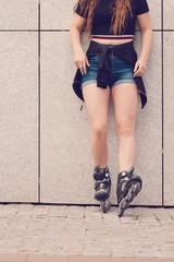 Sexy woman wearing roller skates