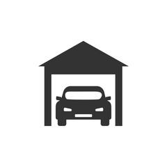 Garage icon, car sign. Vector illustration, flat design.