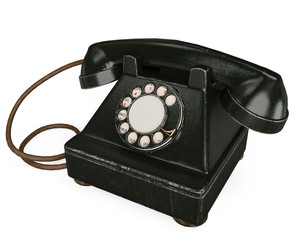 an black and old phone