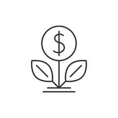 Dollar tree outline icon