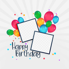 happy birthday card with photo frame and balloons