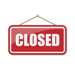 Closed Sign isolated on white background. Vector illustration.