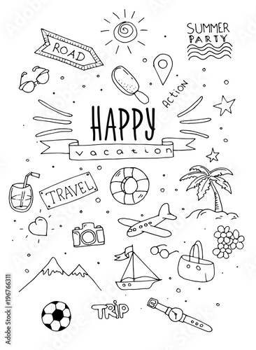 Wall mural Hand draw travel and happy vacation sketch backgroun