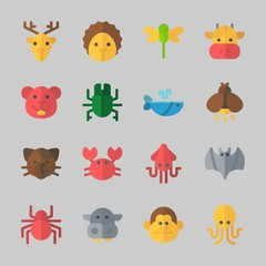 Icons about Animals with dragonfly, monkey, hamster, hippopatamus, squid and beetle