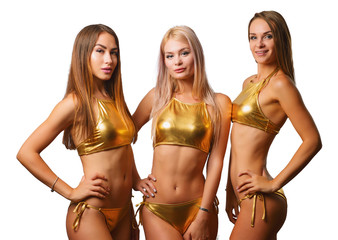 Beautiful girls in Golden bikinis