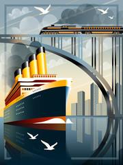 Passenger liner in ocean