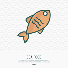 Fish thin line icon. Modern vector illustration of seafood for restaurant menu.