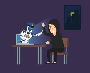 cyber police robot catch a hacker