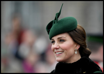 Britain's Catherine, Duchess of Cambridge attends the presentation of Shamrock to the 1st Battalion Irish Guards, at a St Patrick's Day parade at Cavalry Barracks in Hounslow