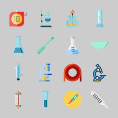 Icons about Laboratory with ladle, thermometer, watch glass, measuring, test tube and lab