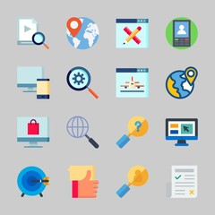 Icons about Seo with worldwide, newspaper, measure, video, search and devices
