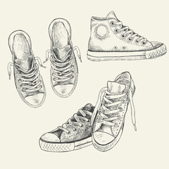 Set of sneakers on the white background drawn in a sketch style. Gumshoes