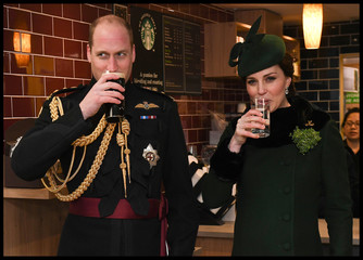 Britain's Catherine, Duchess of Cambridge drinks sparkling water and Prince William drinks Guinness as they attend the presentation of Shamrock to the 1st Battalion Irish Guards, at a St Patrick's Day parade at Cavalry Barracks in Hounslow