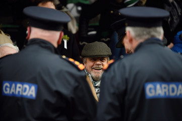 Irish police officers queue up to meet actor Mark Hamill at the St. Patrick's Day parade in Dublin
