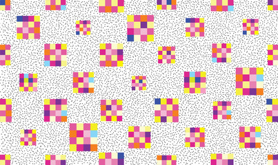 Abstract geometric seamless pattern. Stylish dotted pixel background