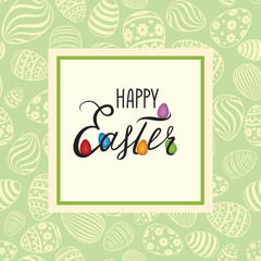 Happy Easter greeting card. Holiday bakground with Easter eggs