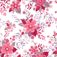 Floral seamless pattern. Flower background. Ornamental fabric retro painting