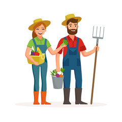 Happy farmers vector flat design isolated on white background. Cartoon characters of man and woman farming concept illustration.