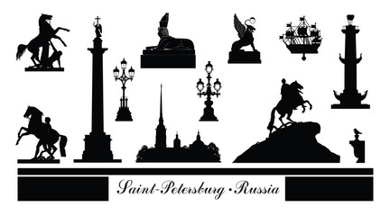 St. Petersburg city symbol set, Russia. Tourist landmark icons