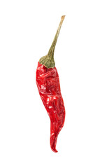Dried red hot chilli pepper isolated on white
