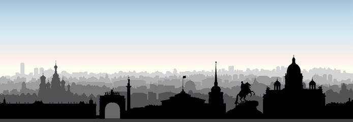 St. Petersburg city skyline, Russia. Tourist landmark silhouette