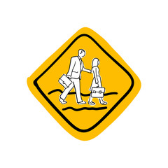 School road warning sign vector illustration sketch hand drawn with black lines isolated on white background