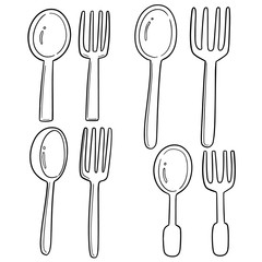 vector set of spoons and forks