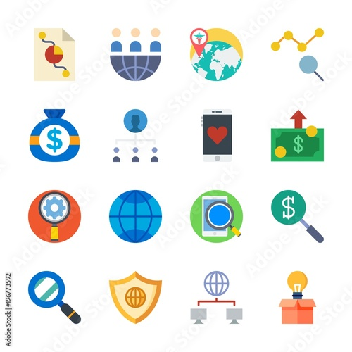 icon Marketing with pie chart, shield, internet, settings
