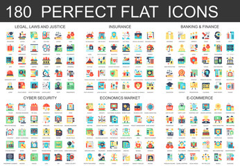 180 vector complex flat icons concept symbols of legal, laws and justice, insurance, banking finance, cyber security, economics market, e-commerce. Web infographic icon design.