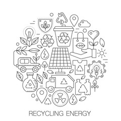 Recycling energy in circle - concept line illustration for cover, emblem, badge. Recycling green energy thin line stroke icons set.