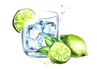 Glass of Gin tonic with ice cubes and lime. Watercolor hand drawn illustration, isolated on white background