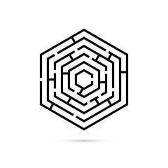Hexagon maze. Business confusion and solution concept. Flat design. Vector illustration on white background