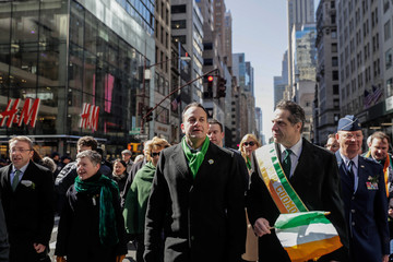 Irish Taoiseach Leo Varadkar marches with Governor Cuomo during the St Patrick's Day parade in New York City