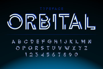 Futuristic display font design, alphabet, character set